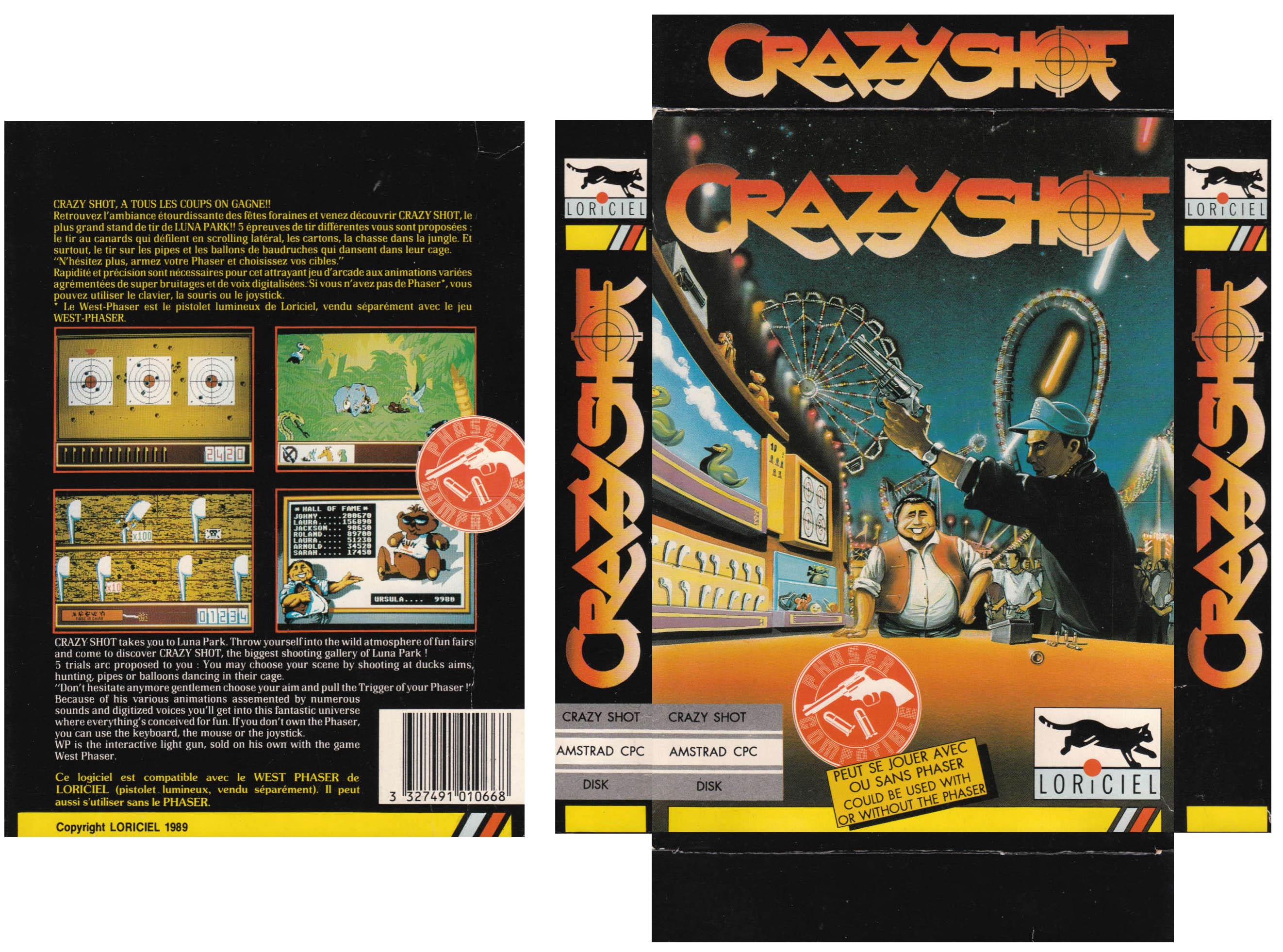 Jeu video Crazy Shot sur Amstrad-CPC - 3 - images, jaquette, scans