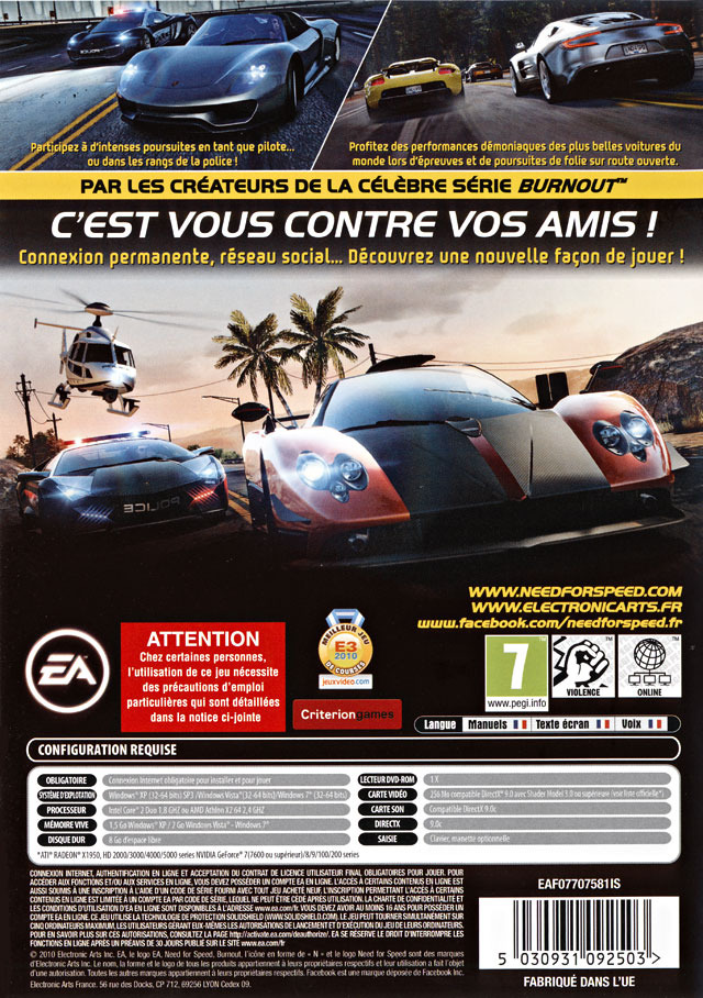 jeu video need for speed hot pursuit sur pc 1 images jaquette scans screenshots. Black Bedroom Furniture Sets. Home Design Ideas