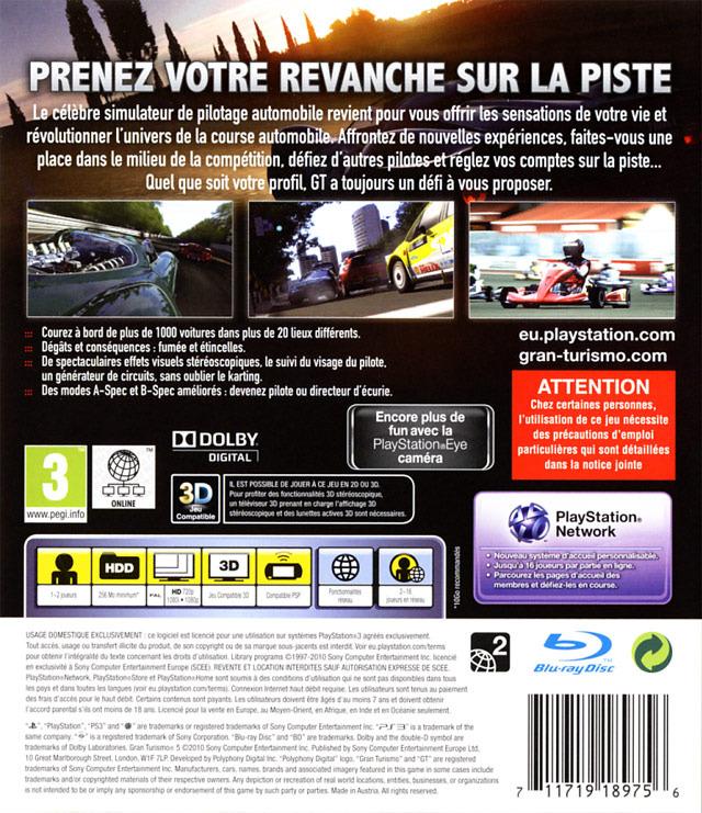 jeu video gran turismo 5 sur ps3 1 images jaquette scans screenshots. Black Bedroom Furniture Sets. Home Design Ideas