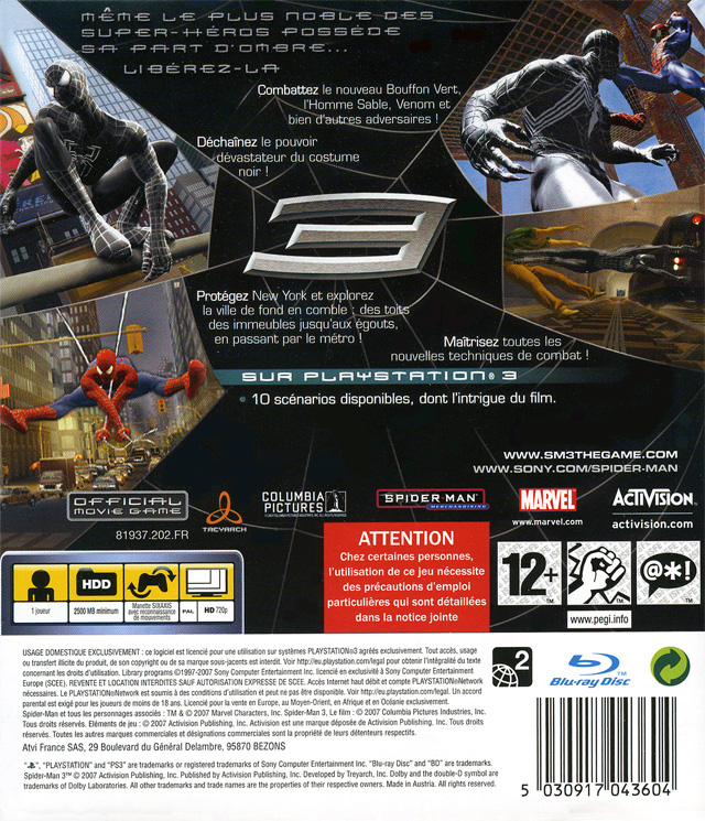 jeu video spider man 3 sur ps3 1 images jaquette scans screenshots. Black Bedroom Furniture Sets. Home Design Ideas