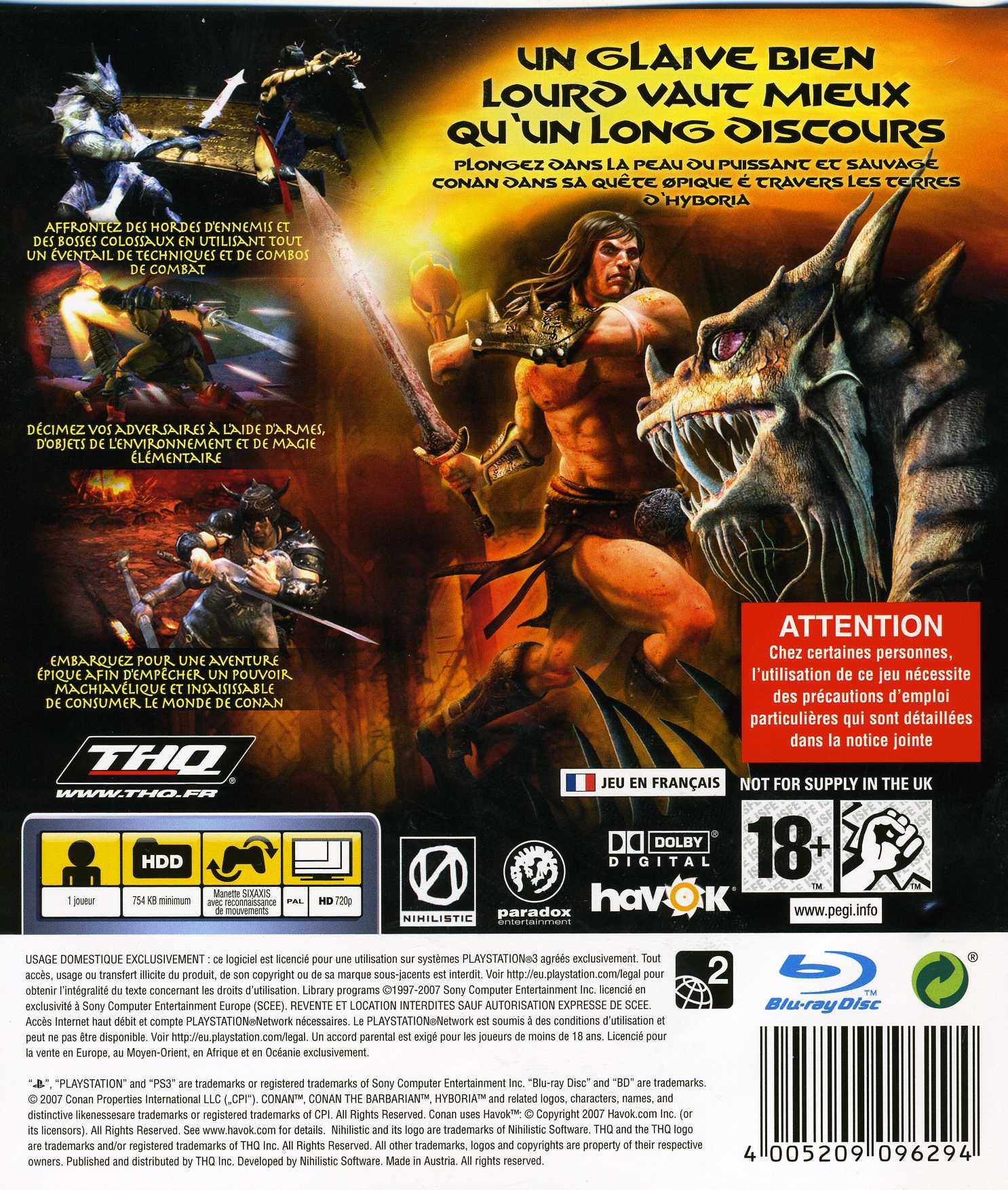 Jeu video Conan sur PS3 - 1 - images, jaquette, scans, screenshots