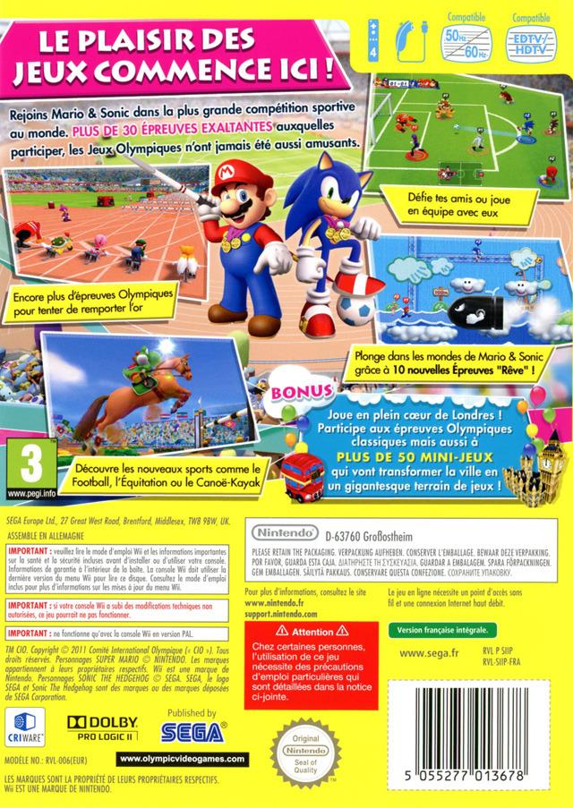 Mario Sonic Aux Jeux Olympiques De Londres 2012 Sur Wii