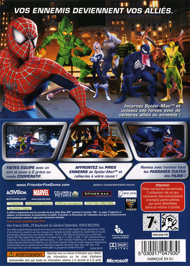 jeu video spiderman alli ou ennemi sur xbox 360 1. Black Bedroom Furniture Sets. Home Design Ideas